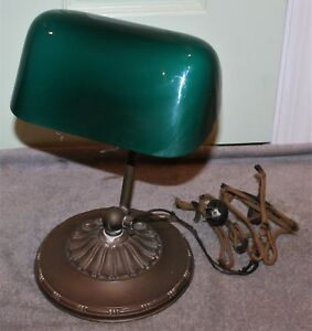 Antique Emeralite Bankers Lamp 8734 A W Original Shade