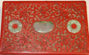 Old Chinese Carved Cinnabar Lacquer Floral White Green Signed Jade Enamel Box