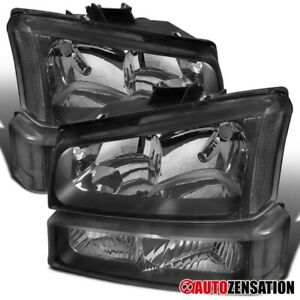 2003 2006 Chevy Silverado Avalanche Black Clear Headlights Bumper Signal Lamps