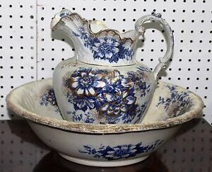 Antique English Flow Blue Bowl And Pitcher Set Samuel Ford And Sons Circa 1895