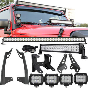 Mount Bracket For Jeep Wrangler Jk 52inch 700w 22 280w 4 18w Led Light Bar Set