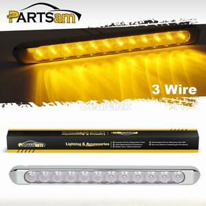 17 Clear Amber 12led Truck Trailer Stop Tail Turn Signal Light Bar Chrome Bezel