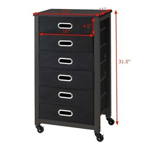 Four Casters Rolling Mobile Storage Filing Cabinet W 6 Drawers Office Furniture