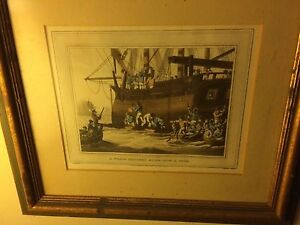 Four Antique 1813 Whaling Etchings Hand Colored Matted Framed London Nantucket