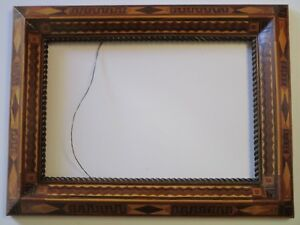 Antique Ornate Inlay Art Deco Frame Unique Geometric Abstract Folk Sculpture