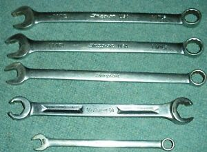 Lot Of 5 Snap On Open Box End Wrenchs Flare Nut Vintage
