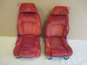 86 87 Firebird Gta Trans Am Red Cloth Front Seat Seats Set 0413 24