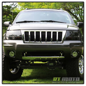 Smoked 99 04 Jeep Grand Cherokee Dual Halo Projector Led Headlights Left Right