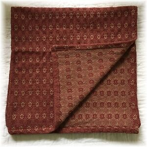 Primitive Style Woven Table Square Farmhouse 34 X 34 Coverlet Cranberry Red Tan