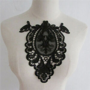 Decorated Lace Neckline Fabric Polyester Flower Embroidery Collar Applique