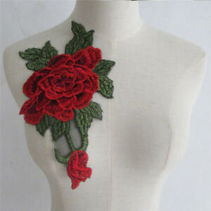 Red Leaves Embroidered Lace Neckline Neck Collar Dress Patch Yl736