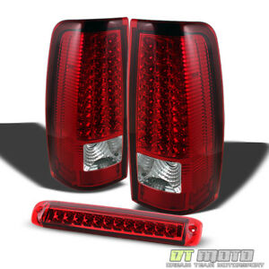 1999 2002 Chevy Silverado 1500 2500 3500 Red Led Tail Lights led 3rd Brake Lamp