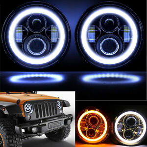 2pcs 7 Halo Angel Eyes Led Projector Headlights Lamp For 97 16 Jeep Wrangler