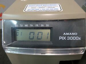 Amano Pix 3000x Time Stamp Clock Electronic Time Recorder