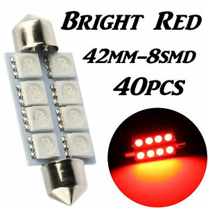 40x Pure Red 42mm 5050 8smd Festoon Led Interior Dome Map Light Bulb 211 2 212 2