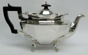 Classic 1903 London Sterling Silver Ebony Wood Handle Teapot