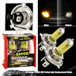 Jdm Universal H4 Hb2 9003 2500k 12v 100 80w Yellow Halogen Bulbs