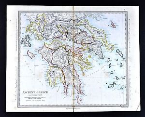 1866 Sduk Map Ancient Greece Peloponnese Athens Sparta Corinth Olympia Delphi