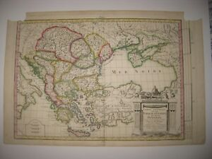 Antique 1787 Turkey In Europe Hungary Greece Copperplate Handcolor Map 1767 Date