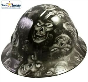 Hydro Dipped Full Brim Hard Hat With Ratchet Suspension Skulls White