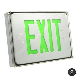 Led Exit Sign Green White Slim Low Profile With Battery Backup 2pack