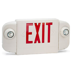 Led Exit Sign Red White Slim Low Profile With Battery Backup