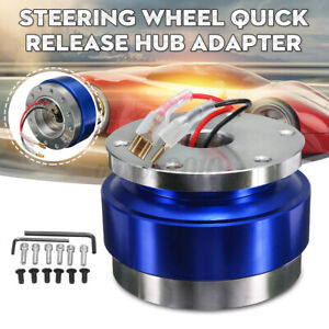 Universal Steering Wheel Ball Quick Release Hub Adapter Snap Off Boss Kit Blue