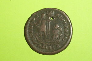 Ancient Roman Coin Galley Chi Rho Constans 333 Ad Pendant Globe Angel Antique Vg