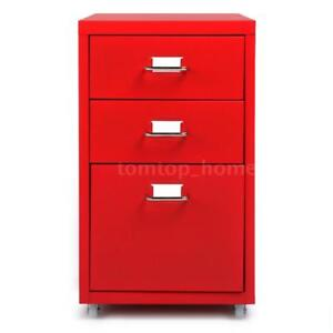 Hot 3 Drawers Sturdy Metal File Filing Cabinet Storage Office Essential Red G2b5