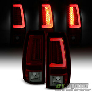 1999 2002 Chevy Silverado 99 06 Gmc Sierra Red Smoke Led Tube Tail Lights Lamps