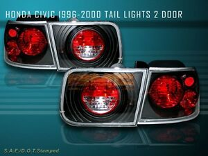 Fit For 96 00 Honda Civic Tail Lights Jdm Black 2dr Coupe 97 98 99
