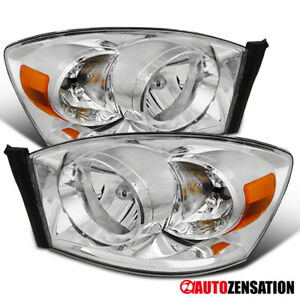 For 2006 2008 Dodge Ram 1500 2500 3500 Pair Clear Headlights Lamps Left Right