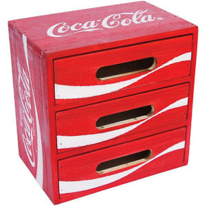New Coca cola Coke Crate Painted Wood 3 Drawer Storage Cabinet Desk Organizer