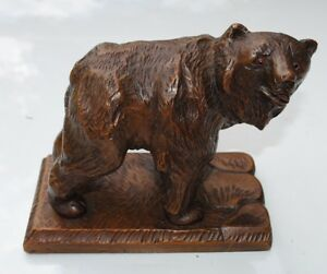 Antique Swiss Black Forest Wood Carving Grizzly Bear Walking Brienz Marked 1946