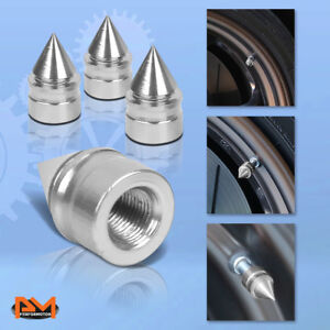 4 Pcs Silver Aluminum Tires Stem Caps Spiked Style Wheel Air Valve Dust Cover