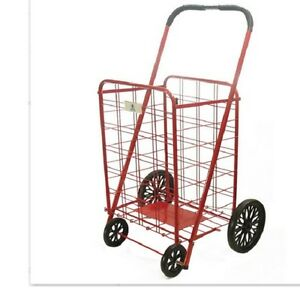 Shopping Cart With Wheels Red Folding Large Heavy Metal Grocery Laundry Basket