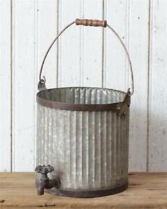 New Primitive Rustic Farmhouse Chic Old Faucet Bucket Utensil Holder Caddy