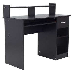 Wood Computer Laptop Monitor Stand Desk Workstation Drawer Shelf Organizer Black