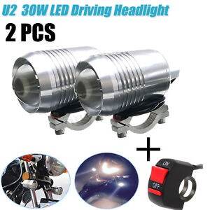 2x 30w Motorcycle U2 Led Spot Fog Lights Driving Headlight Hi Lo Atv Bike Switch