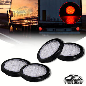 4x 4 Inch Red 24 Led Round Stop Brake Clearance Lens Tail Light Truck Trailer