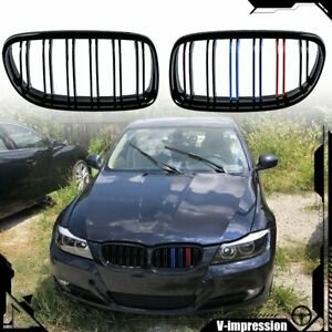 M Color Double Line Front Kidney Grille For 2009 2011 Bmw E90 E91 325i 328i 335i