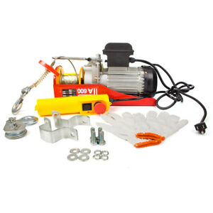 Engine 1320lbs Electric Hoist Wire Cable Overhead Winch Crane Lift W control