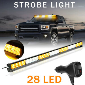 Us 31 28 Led Strobe Light Bar Traffic Advisor Flashing Lamp Car Amber