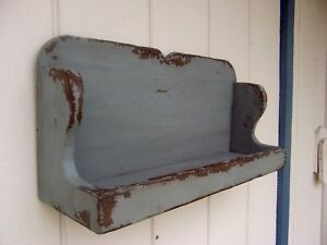 Primitive Rustic Painted Country Plate Bowl Dish Display Shelf Farmhouse Shelves