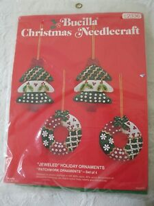 Vintage Bucilla Christmas Needlecraft Jeweled Patchwork Ornaments