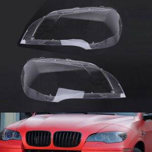 Pair Left right Headlight Lens Cover Lampshade For Bmw X5 E70 2008 2013