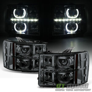Smoke 2007 2013 Gmc Sierra 1500 2500hd 3500 Hd Smd Led Halo Projector Headlights