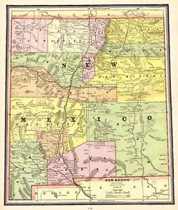 1902 Antique New Mexico Map Gallery Wall Art Map Of New Mexico State Map 5221