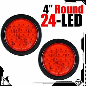 Pair 4 Inch Red 24 Led Round Rear Stop Brake Tail Light 12v Truck Trailer Utv