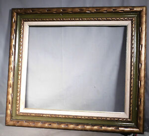 Vintage 20x24 Spanish Baroque Revival Picture Frame Antique Green Carved Gilt